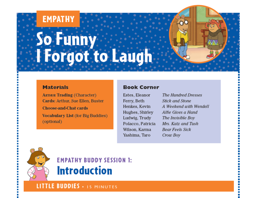 Look for the Book Corner at the beginning of the Getting Ready To Meet Your Buddy session and each of the five topic buddy sessions. See also Recommended Books in the Appendix for a complete book list.