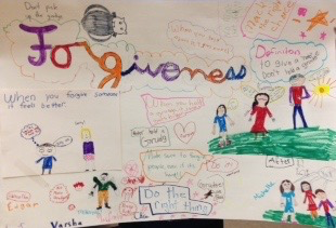 At the Celebration session, big and little buddies included the Grudge (upper left corner) as they illustrated what 'forgiveness' means in their lives.