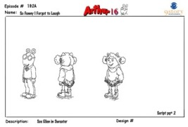 Black and white character designs show the episodes characters, props, and backgrounds.